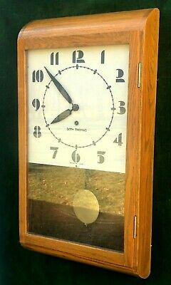 1940's Seth Thomas Art-Deco Time Wall Regulator Clock 8-Day  WORKING NICE!