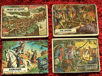 1962 Topps Civil War News Trading Cards Lot of 4 - #53,63,70,84
