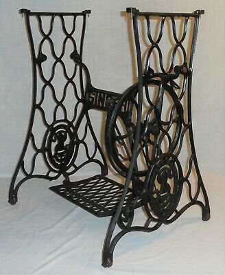Antique Working Singer Red Eye Model 66 Sewing Machine Treadle Cast Iron Stand
