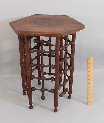 Small Antique Oak, Stick & Ball, Octagon Plant Stand Side Table Pedestal