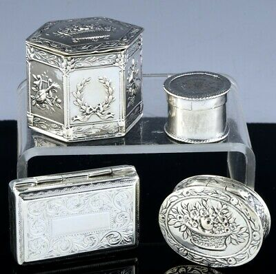 Estate Lot Antique English Continental Sterling & 800 Silver Snuff Pill Boxes