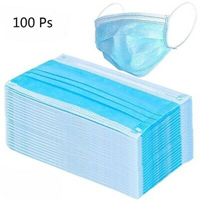 100 PCS Disposable Face Mask Surgical Medical Dental Industrial 3-Ply