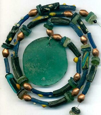 """Roman Ancient Blue Glass Beads Encrusted Tubes 40mm Disk~Centuries Old~ 21"""""""