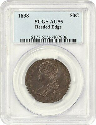 1838 50c PCGS AU55 (Reeded Edge) Great Type Coin - Bust Half Dollar