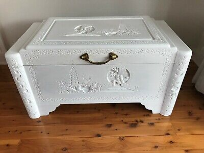 Antique Chinese Wooden Carved Chest ~ Trunk ~ Blanket Box ~ Toy Box ~ Oriental