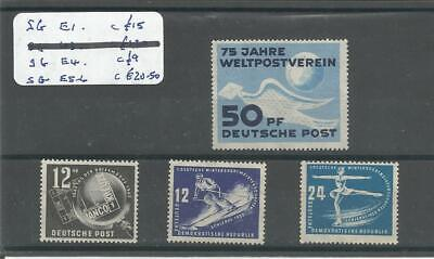 East Germany  DDR  1949 SG E1 UPU 43 Stamp Day  1950 E5-6 Winter Sports  4v  MNH