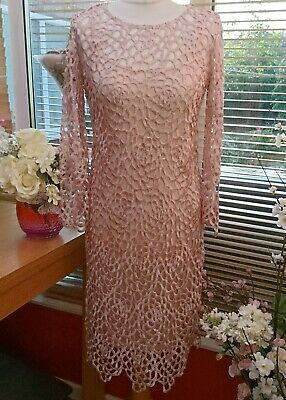 """Phase Eight Baby Pink Cut Out Motb/Guest Dress+ F/Length Cami Size 8 (Chest 34"""")"""