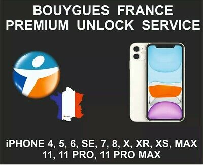 UNLOCK SERVICE IPHONE 7/8/X/Xr/Xs/11 UNLOCKING CODE SERVICE FOR BOUYGUES FRANCE