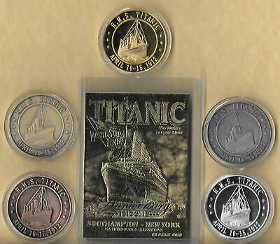 RMS TITANIC APRIL 10-15, 1912 23 KT 100 Th CARD Gold Silver Brass Copper Coins