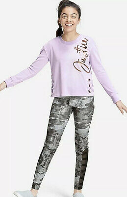 Justice Girls Size 10 Outfit Velour Lace Up Side Sweatshirt Purple & Leggings