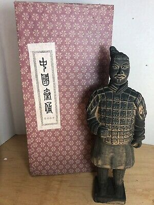 "Vintage 10"" Chinese Terra-cotta Antique Emperor Warrior Soldier Statue Figurine"