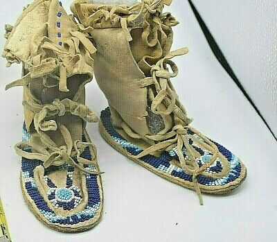 Lakota Sioux Indian Beaded Baby High Top Hard Sole Moccasins Native American