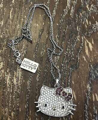 Sterling Silver Sanrio Large Hello Kitty Pace CZ Face Head w Red Bow Necklace