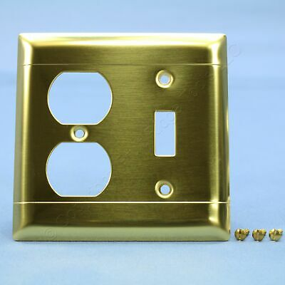 P&S Brushed Solid Brass 2-Gang Toggle Switch Cover Outlet Wallplate LINED SB18-D
