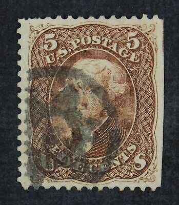 CKStamps: US Stamps Collection Scott#76 5c Jefferson Used Straight Edge CV$120