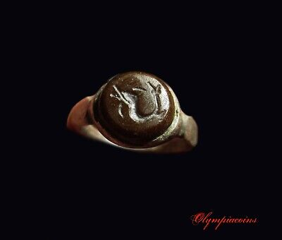 ** AMAZING  ** Ancient Roman SILVER ring ** DOLPHIN ** on RED stone