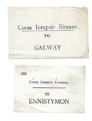 Irish Railway Luggage Labels x2. CIE, Coras Iompair Eireann. Galway & Ennistymon