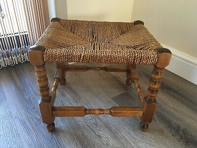 Antique English Oak Wooden String Footstool / Stool