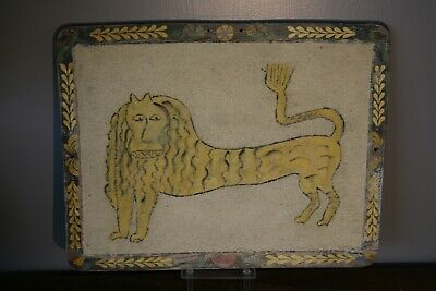 Antique Folk Art Lion Early Primitive Painting Old Painted Picture Frame Theorem
