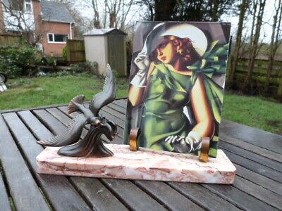 Stunning Vintage Art Deco French Spelter Marble Freestanding Picture Photo Frame