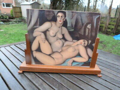Lovely Large Vintage Art Deco Wood & Glass Freestanding Photo Picture Frame