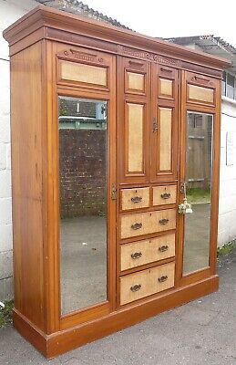 Very Nice Large Victorian Triple Combination Wardrobe with Key
