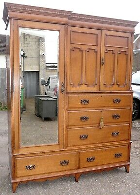 Stunning Maple & Co. Triple Edwardian Combination Wardrobe with Key