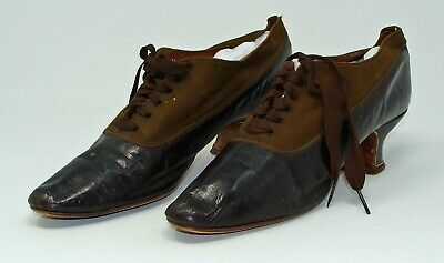 Antique Pair Of Ladies Victorian Lace Up Leather And Fabric Shoes**Wow!!!
