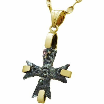 Antique 6Th Century Bronze Byzantine Cross Set In 14K Gold Pendant Old Used Nice
