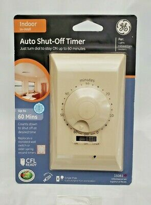 Brand New GE 15 Amp Single-Pole 60-Minute Wall Switch Auto Shut-Off Timer 15084