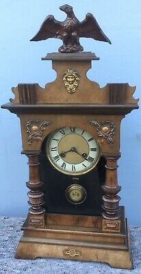 Antique Victorian Walnut Vienna Table Mantel Mantle Clock
