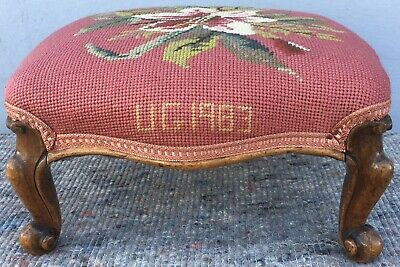 Antique Victorian Walnut Cabriole Leg Footstool Stool