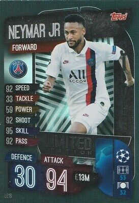 Match Attax Extra Champions League 2020 Limited Edition Neymar Jr In Silver Mint
