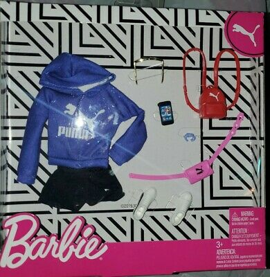 Barbie Puma Outfit Fashion Set Purple Hoodie Shorts Red Backpack Doll Clothes