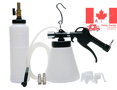 Pneumatic Brake Fluid Bleeder Tool with 4 Master Cylinder Adapters 90-120 PSI