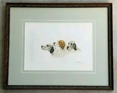LEON DANCHIN Antique 1938 Hand Signed Etching English Irish SETTER HUNTING DOGS