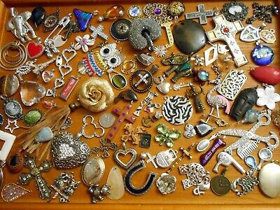 HUGE LOT 100 PREOWNED PENDANTS w/ some charm MIXED METALS RHINESTONE RESIN WOODS