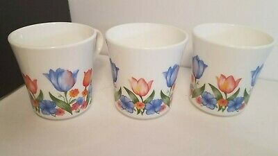 "Corelle/Corning Ware ""Fresh Cut"" Tulips Floral Coffee or Tea Cups Set of 3"