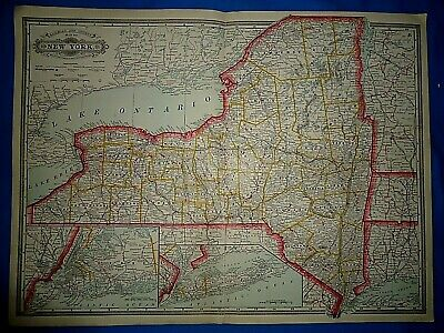Vintage 1884 RAILROAD & COUNTY MAP of NEW YORK Old Original Antique Folio Size