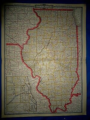 Vintage 1884 RAILROAD & COUNTY MAP of ILLINOIS Old Antique & Original Folio Size