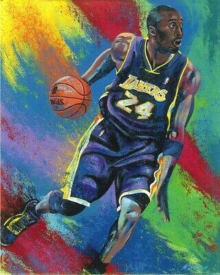Kobe Bryant Art Giclee on Stretched Canvas Hand Embellished Signed by Bill Lopa