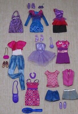 Barbie Fashionistas Doll Clothes Lot_Dresses_Tops_Bottoms_Shoes_Purses_27 Pieces