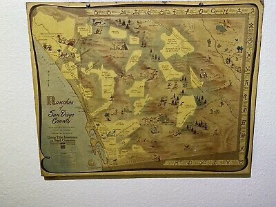 Rare Map Ranchos of San Diego County With Historic Routes & Points of Interest