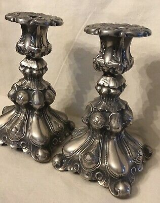 Vintage Candle stand holder set nickel silver baroque style Swedish extra PR N.S