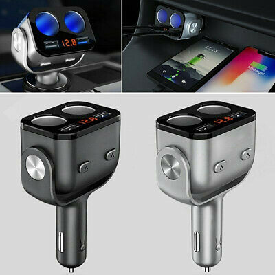 12V Car Cigarette Lighter Power Socket Splitter Dual USB Charger Adapter 2 Way