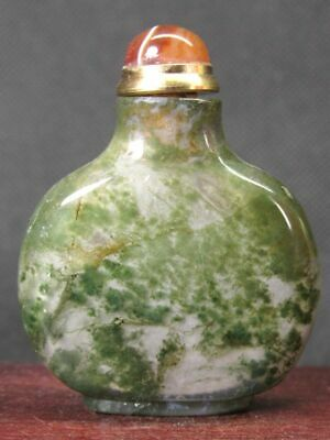 Chinese Natural Green Moss Agate Snuff Bottle