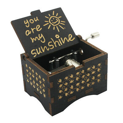 Music Box You are My Sunshine Black,Wooden Classic Music Box Crafts w Hand Crank