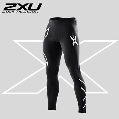 2XU Mens Compression Tights Full Length Gym Skins in Silver Detailing 🇦🇺 Stock