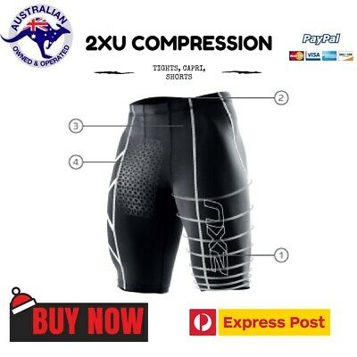 ✅ 2XU Mens Compression Shorts with Silver Black Gold Logo Gym Skin Exercise 🇦🇺