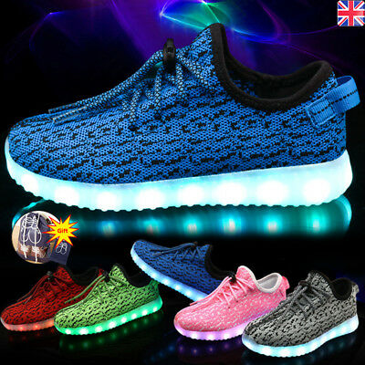 Kids Boys Girls Light Up Shoes LED Flashing Trainer Casual Sneaker Plus Size Lot